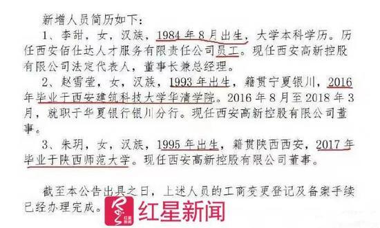 ▲西安高新控股有限公司近期的一次人事调整 图据网络