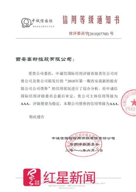 ▲西安高新控股有限公司2018年度主体信用评级报告 图据网络