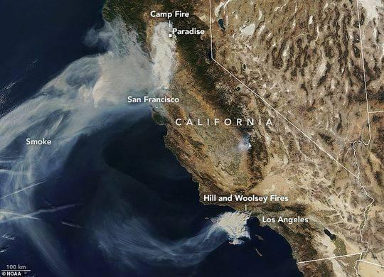 从太空看美国加州山火肆虐 火势仍在蔓延失控