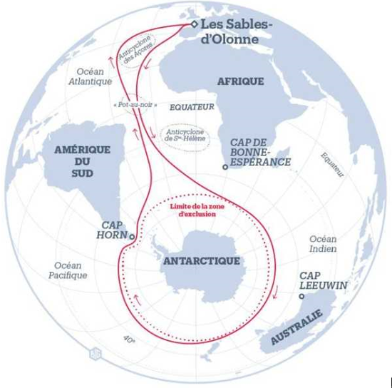 旺代帆船赛行驶路线,全程需要三个月。